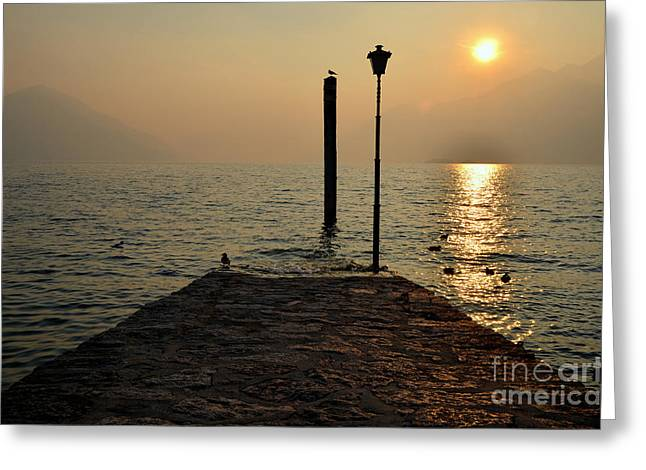 Pier And Sunset Greeting Card by Mats Silvan
