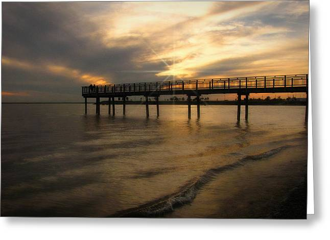 Greeting Card featuring the photograph Pier  by Cindy Haggerty
