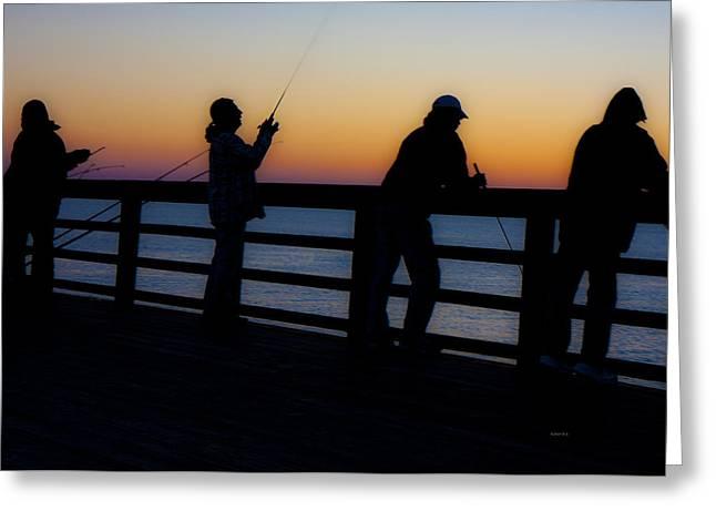 Pier Fishing At Dawn II Greeting Card