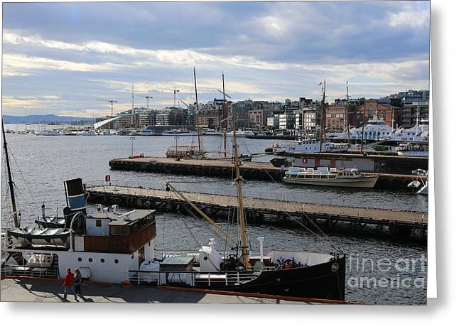 Piers Of Oslo Harbor Greeting Card by Carol Groenen