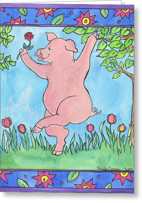 Pig Dance Greeting Card by Pamela  Corwin