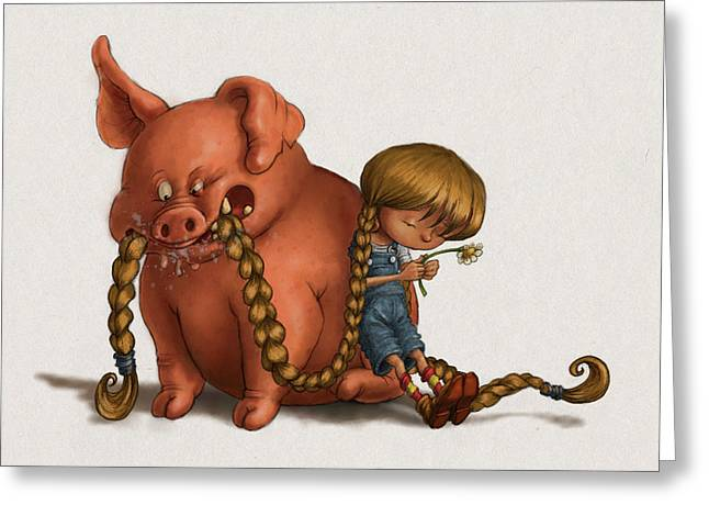 Pig Tales Chomp Greeting Card by Andy Catling