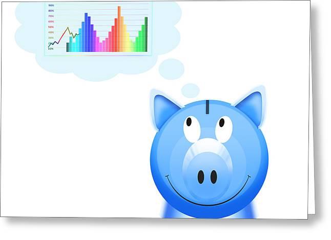 Piggy Bank With Graph Greeting Card by Setsiri Silapasuwanchai