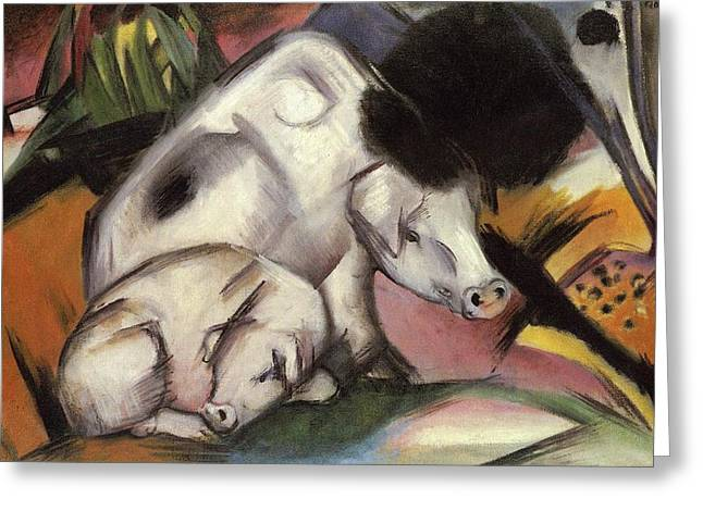 Pigs Greeting Card by Franz Marc