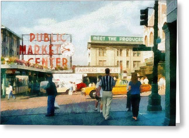 Pike Place Market Greeting Card by Michelle Calkins