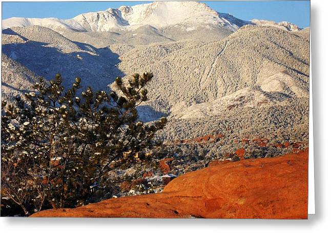 Pikes Peak Stunning Snow Greeting Card by Clarice  Lakota