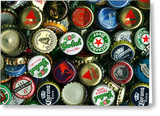 Pile Of Beer Bottle Caps . 3 To 1 Proportion Greeting Card by Wingsdomain Art and Photography