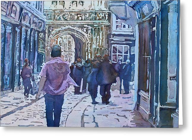 Pilgrims At The Gate Greeting Card by Jenny Armitage