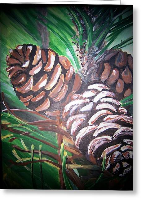 Pine Cones Greeting Card by Krista Ouellette