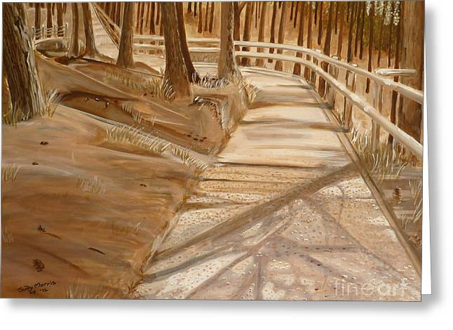Greeting Card featuring the painting Pine Forest Walk by Judy Morris