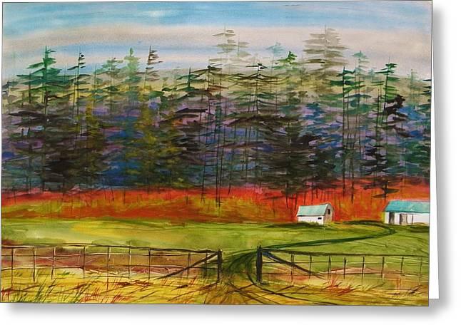 Pines Behind The Barns Greeting Card by John Williams