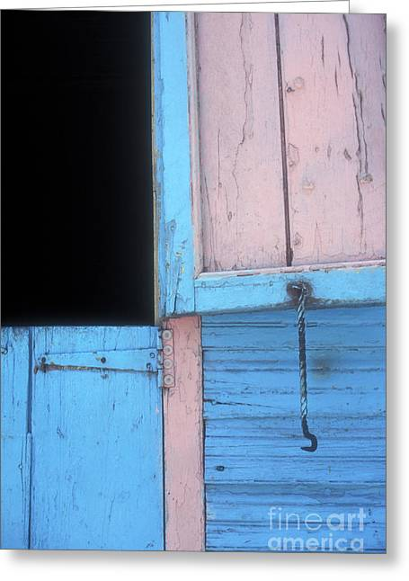 Greeting Card featuring the photograph Pink And Blue Shutters Barahona Dominican Republic by John  Mitchell