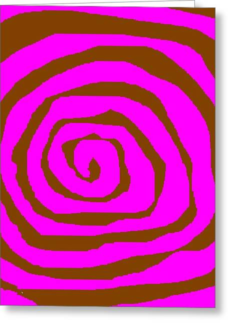 Pink And Brown Swirls Greeting Card