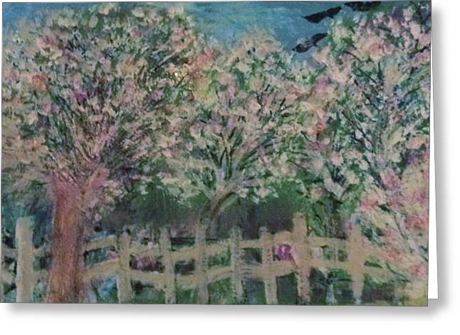 Pink And White Trees And Fence Greeting Card by Anne-Elizabeth Whiteway