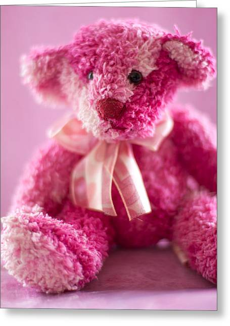 Greeting Card featuring the photograph Pink Bear Sat Alone by Ethiriel  Photography