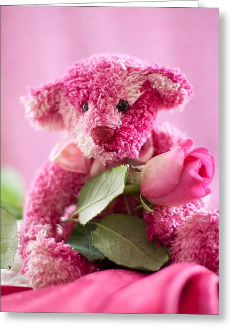 Greeting Card featuring the photograph Pink Bear With Rose by Ethiriel  Photography