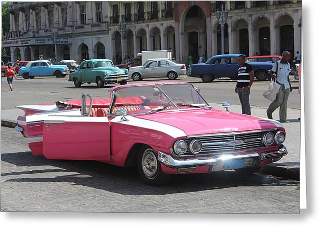 Pink Chevy In Havana Greeting Card by David Grant