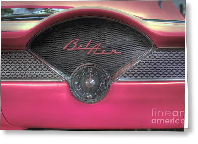Pink Chevy Bel Air Glove Box And Clockface Greeting Card