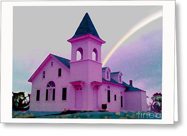 Pink Church With Rainbow Greeting Card