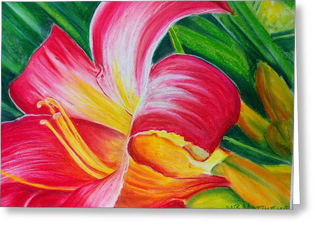Pink Daylily Greeting Card by MB Matthews