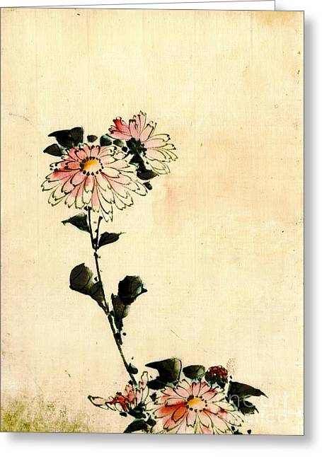 Pink Flowers 1840 Greeting Card by Padre Art