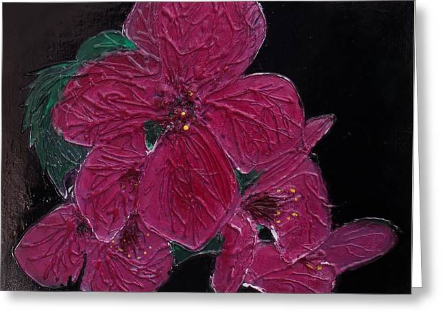 Pink Flowers Greeting Card by Angela Stout