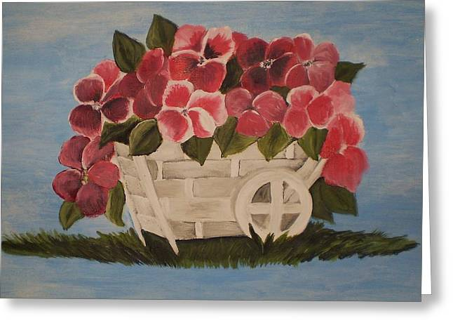 Greeting Card featuring the painting Pink Flowers In A Wagon Basket by Christy Saunders Church
