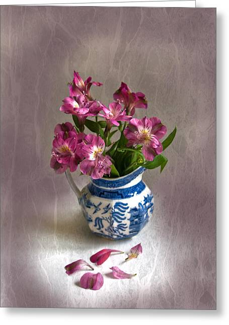Greeting Card featuring the photograph Pink Flowers In Blue Jug by Jacqi Elmslie