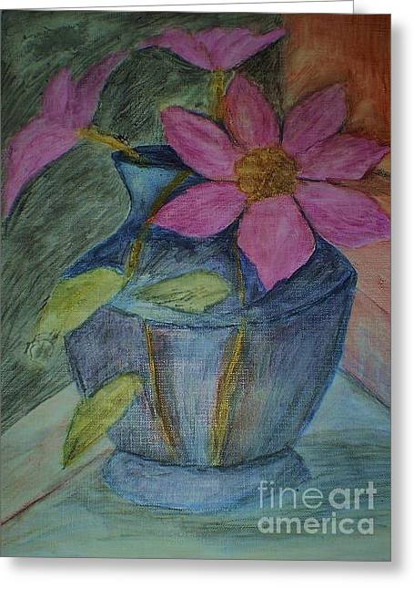 Greeting Card featuring the drawing Pink Flowers In Blue Vase by Christy Saunders Church