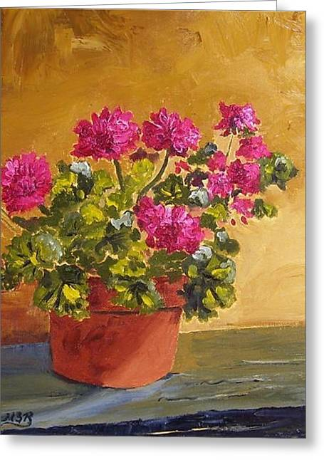 Pink Geranium On Ledge Greeting Card by Maria Soto Robbins
