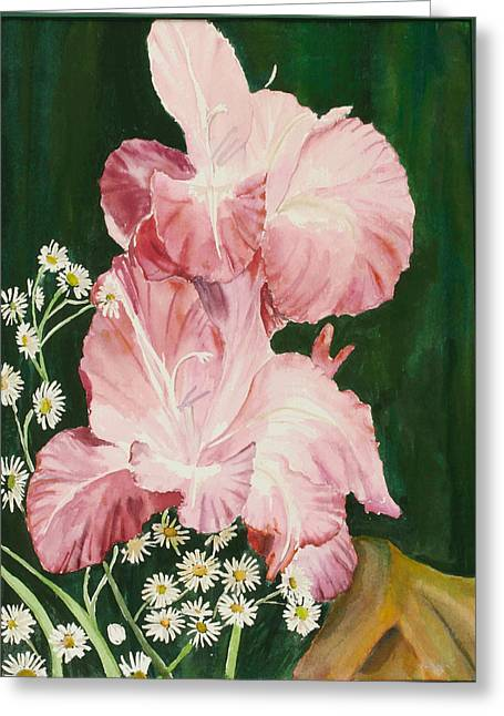 Pink Glad Greeting Card by Judy Loper