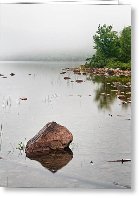 Pink Granite In Jordan Pond At Acadia Greeting Card