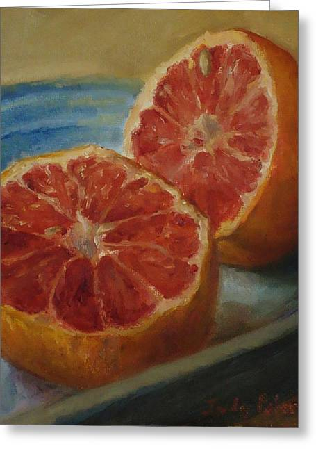 Pink Grapefruit On Blue Vintage Platter Greeting Card by Judy Palermo