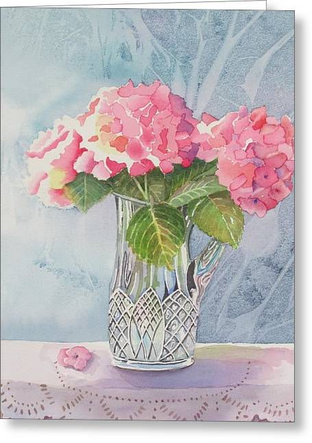 Pink Hydrangias Greeting Card by Jeanne Hall