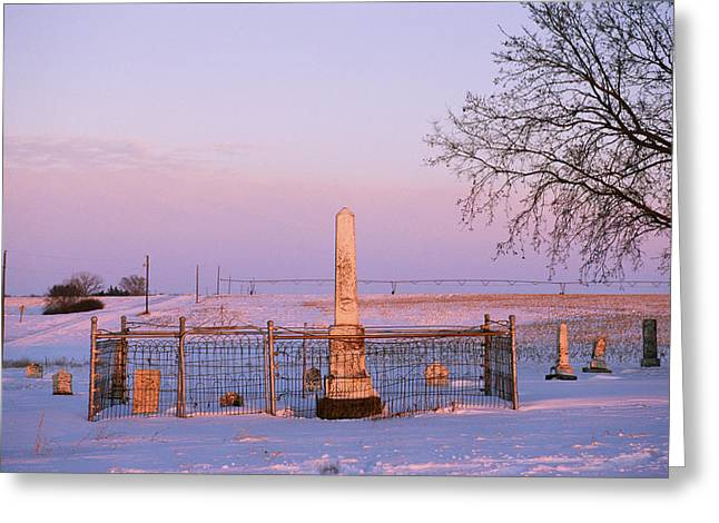 Pink Light In A Rural Cemetery, Snow Greeting Card