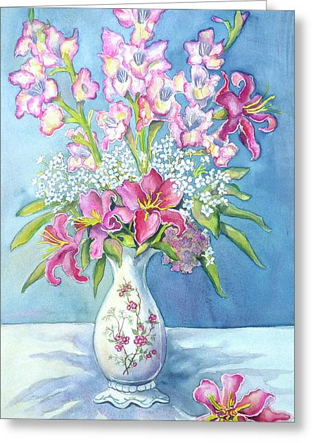 Pink Lillies In A Vase Greeting Card