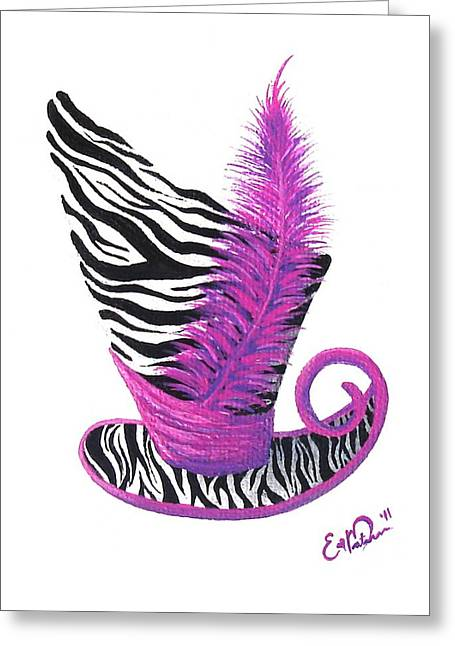 Greeting Card featuring the painting Pink Magic Hat by Oddball Art Co by Lizzy Love