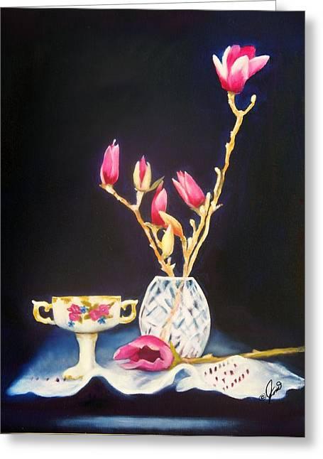 Pink Magnolias Greeting Card by Joni McPherson