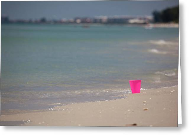 Pink Pail Greeting Card by Nick  Shirghio