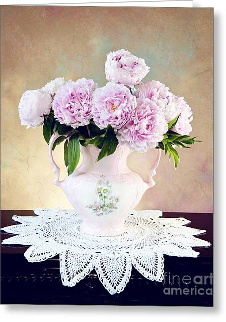 Greeting Card featuring the photograph Pink Peonies by Cheryl Davis