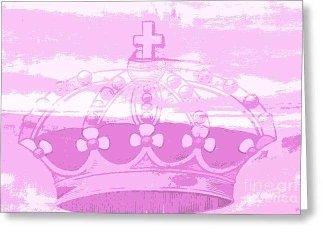 Pink Princess Crown Art Greeting Card by ArtyZen Kids