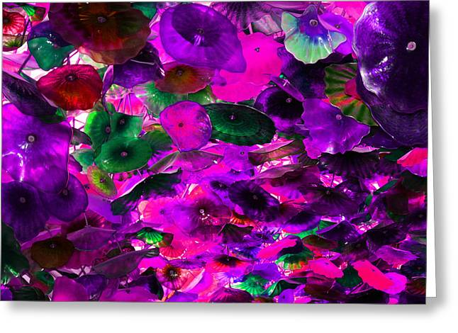 Pink Purple And Green Glass Flowers Greeting Card