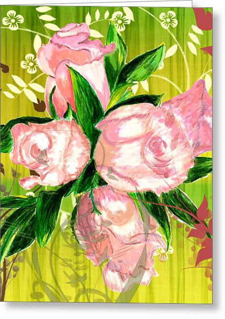 Pink Rose Bouquet Greeting Card