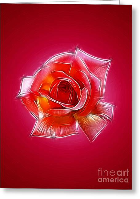 Pink Rose Fractal Greeting Card by Steev Stamford