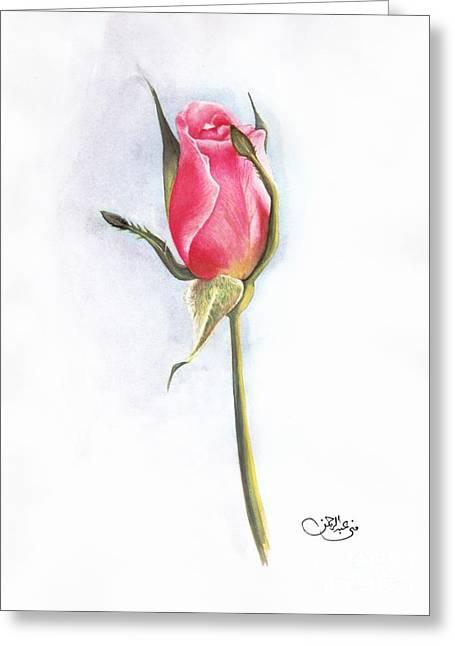 Pink Rose Greeting Card by Muna Abdurrahman