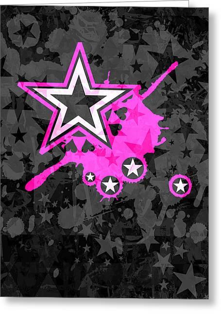 Pink Star 3 Of 6 Greeting Card by Roseanne Jones