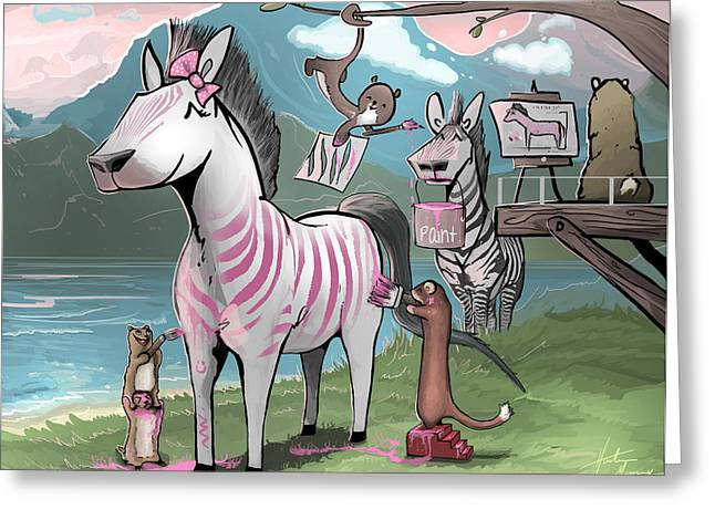 Pink Stripes Greeting Card by Hunter Mooney