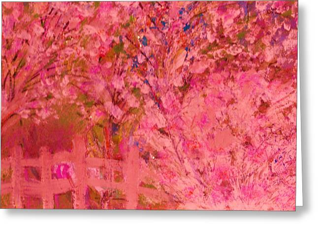 Pink Tree And Fence Greeting Card by Anne-Elizabeth Whiteway