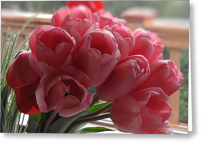 Pink Tulips In Vase Greeting Card by Katie Wing Vigil