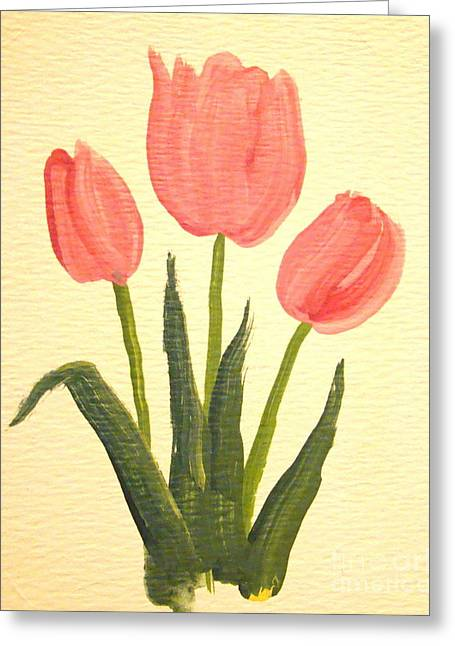Pink Tulips Greeting Card by Leea Baltes